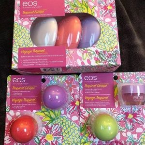 EOS Tropical Escape lip balm scrub lotion bundle